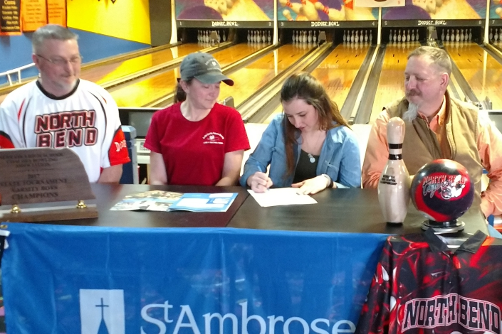 MacKenzie Daniels signs to bowl at St. Ambrose photo
